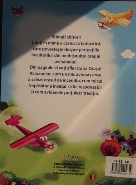 """Cartea """"Orasul Avioanelor"""" coperta spate"""